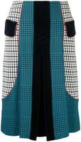 Mary Katrantzou Prince of Wales pleated vent skirt