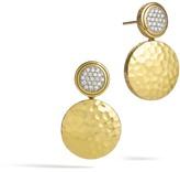 John Hardy Women's Dot Drop Earring in Hammered 18K Gold with Diamonds