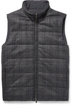 Canali Reversible Checked Wool And Quilted Shell Gilet - Gray