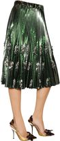 N°21 Pleated & Beaded Lame Vinyl Skirt
