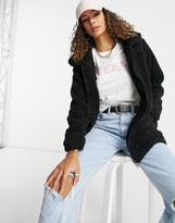 Thumbnail for your product : Brave Soul soft zip thru borg coat in black
