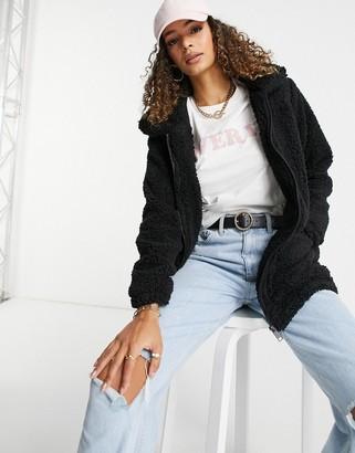 Brave Soul soft zip thru borg coat in black