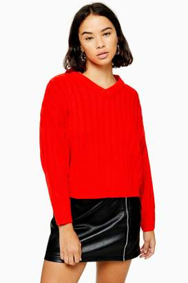 Topshop Womens Petite High Neck Red Jumper - Red