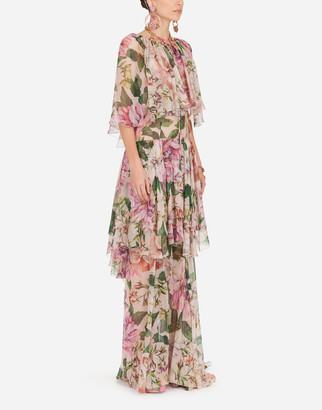 Dolce & Gabbana Long Rose-Print Chiffon Dress With Cape