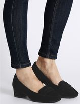 Marks and Spencer Wide Fit Suede Block Heel Court Shoes