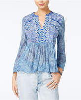 Lucky Brand Embroidered Split-Neck Top