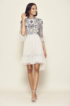 Frock and Frill Isobelle Embellished 3/4 Sleeve Dip Hem Dress