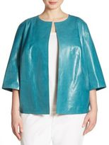 Lafayette 148 New York, Plus Size Athea Lacquered Leather Jacket
