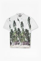 French Connection Palm Tree Printed Short Sleeve Shirt