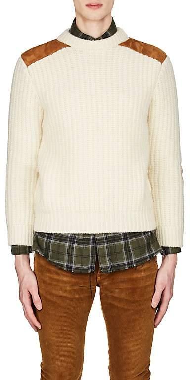 Saint Laurent Men's Suede-Patch Wool-Blend Sweater