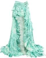 Roberto Cavalli Printed Ruffled Ruched Silk-Satin Maxi Skirt