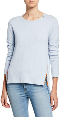 LISA TODD Zip It Cotton/Cashmere Long-Sleeve Sweater w/ Contrast Zip Detail