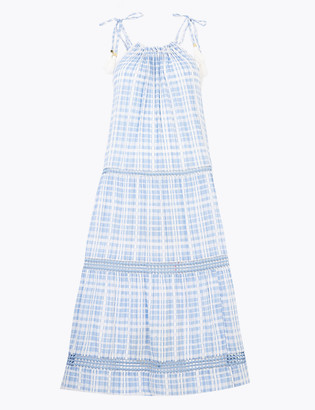 Marks and Spencer Cotton Checked Midi Beach Dress
