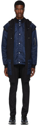 Balmain Navy and Black Bicolor Long Parka