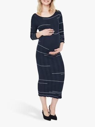 Mama Licious Mamalicious Alfi Rib Knit Stripe Midi Dress, Salute/Off White