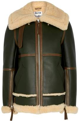 Acne Studios Raf Long Green Shearling-lined Leather Jacket