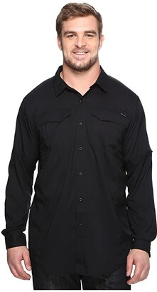 Columbia Big and Tall Silver Ridge Lite Long Sleeve Shirt (Black) Men's Long Sleeve Button Up