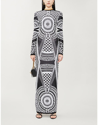 Balmain Geometric-print knitted gown