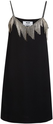 MSGM Crystal Embellished Crepe Mini Dress