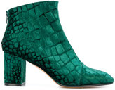 Jean-Michel Cazabat printed round toe booties - women - Leather/Silk Velvet - 36
