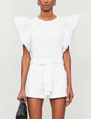 Maje Illo belted high-rise stretch-denim shorts