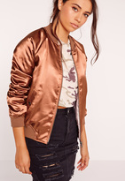 Missguided Premium Zip Detail Satin Bomber Jacket Clay