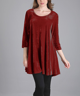 Aster Red Crushed Velvet Tunic - Plus Too