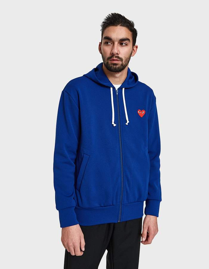 Comme des Garcons Play Zip Hooded Sweatshirt in Navy