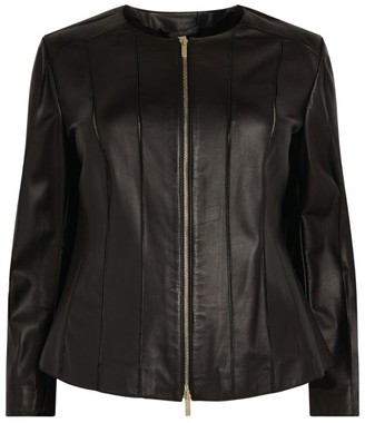 Marina Rinaldi Leather Zip-Up Jacket