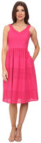 Donna Morgan V- Neck Eyelet Dress w/ Set in Waistband and Full Skirt