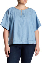 Susina Keyhole Bodice Denim Blouse (Plus Size)