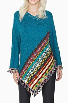 Adore Apparel Fringe Poncho Sweater