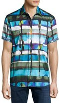 Robert Graham Gravity Abstract-Print Short-Sleeve Sport Shirt, Blue