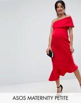 Asos Petite One Shoulder Peplum Hem Midi Dress