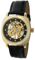 Peugeot 1022G Men's Gold-tone Black Leather Mechanical Skeleton Watch