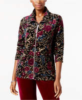 Karen Scott Petite Printed Wing-Collar Jacket, Created for Macy's