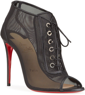 Christian Louboutin Open Ondessa Mesh & Leather Red Sole Booties