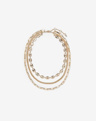 Express Three Row Layered Chain Necklace