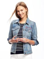 Old Navy Embroidered-Graphic Denim Jacket for Women