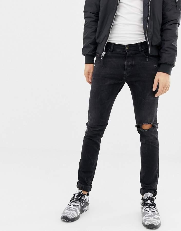 05801bcf Diesel Black Slim Jeans For Men - ShopStyle UK