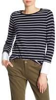 Joe Fresh Long Sleeve Cuff Stripe Print Tee