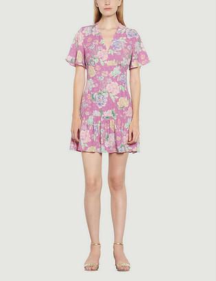 Sandro Floral-print crepe mini dress