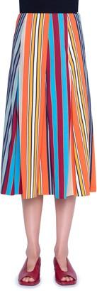 Akris Punto Parasol Stripe Pleated Midi Skirt