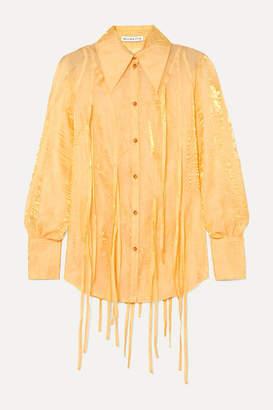 REJINA PYO Lana Fringed Metallic Crinkled-organza Shirt - Pastel yellow
