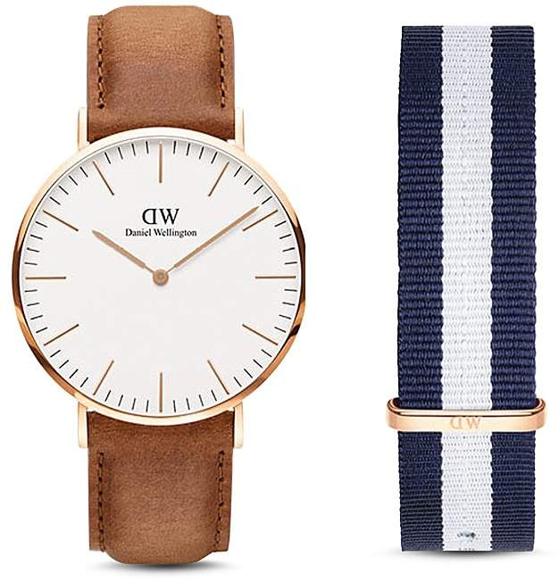 Daniel Wellington Classic Durham Watch, 40mm with NATO Strap Gift Set