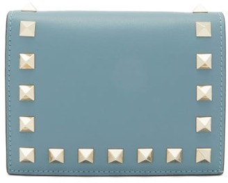 Valentino Rockstud Bi-fold Leather Wallet - Womens - Blue
