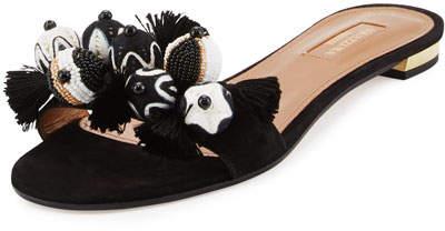 Aquazzura Tropicana Beaded Suede Slide Sandal, Black