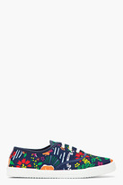 Kitsune MAISON Navy Printed Pernod Absinthe Classic Sneakers