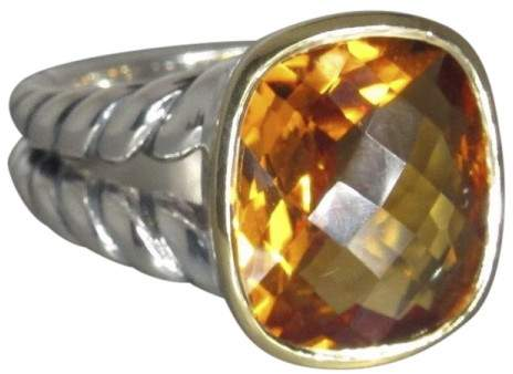 David Yurman Sterling Silver & 18K Yellow Gold with Citrine Ring Size 7