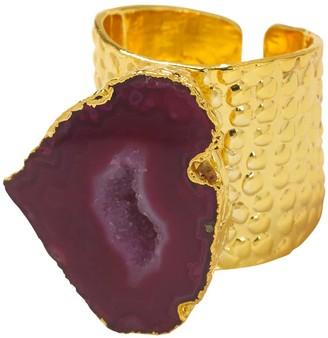 Yaa Yaa London Raspberry Mega Gemstone Gold Statement Ring